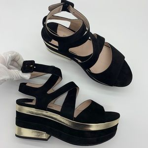 Miu Miu black/gold suede leather platform sandals